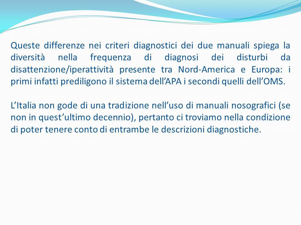 Queste differenze nei criteri diagnostici dei due manuali spiega la diversità nella frequenza di diagnosi dei disturbi da disattenzione/iperattività presente tra Nord-America e Europa: i primi infatti prediligono il sistema dell'APA i secondi quelli dell'OMS.