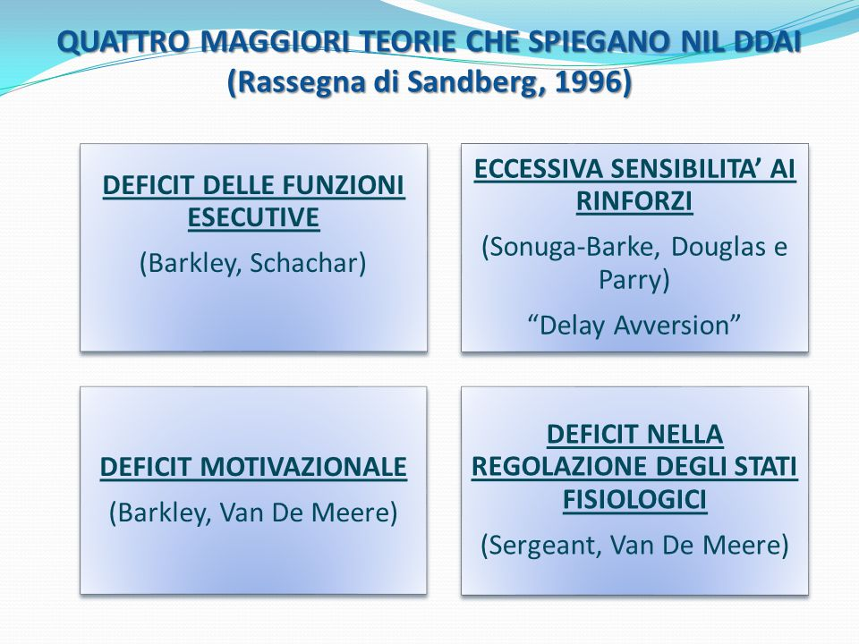 QUATTRO MAGGIORI TEORIE CHE SPIEGANO NIL DDAI (Rassegna di Sandberg, 1996)