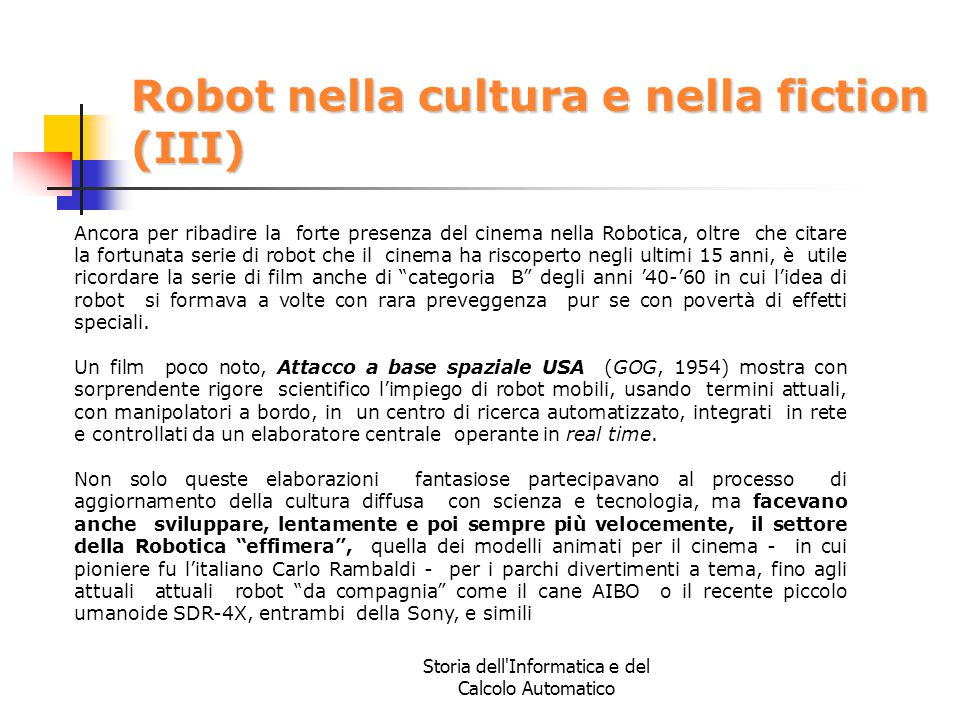 Robot nella cultura e nella fiction (III)