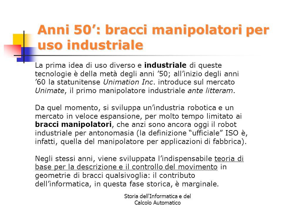 Anni 50': bracci manipolatori per uso industriale