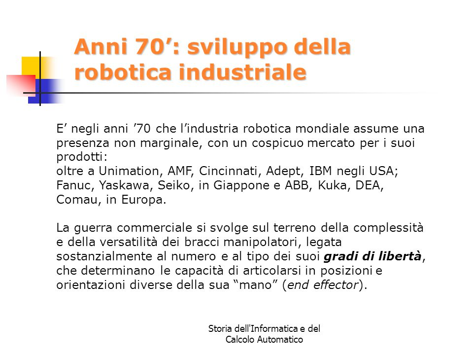 Anni 70': sviluppo della robotica industriale