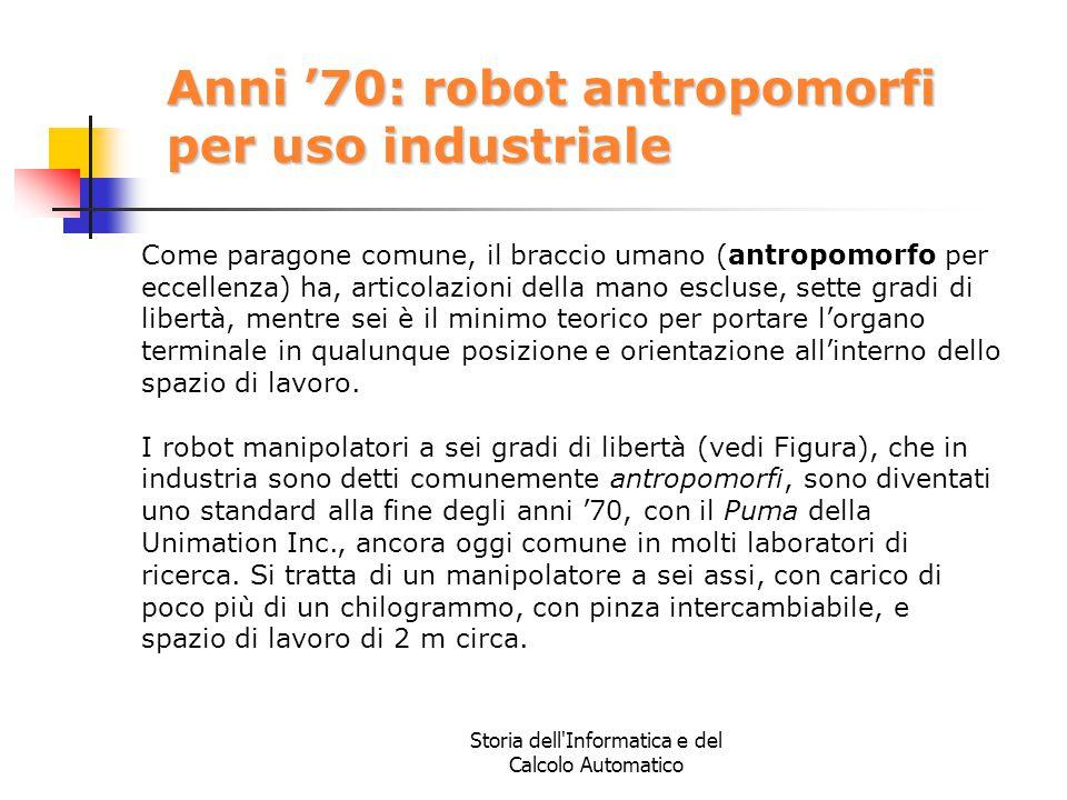 Anni '70: robot antropomorfi per uso industriale