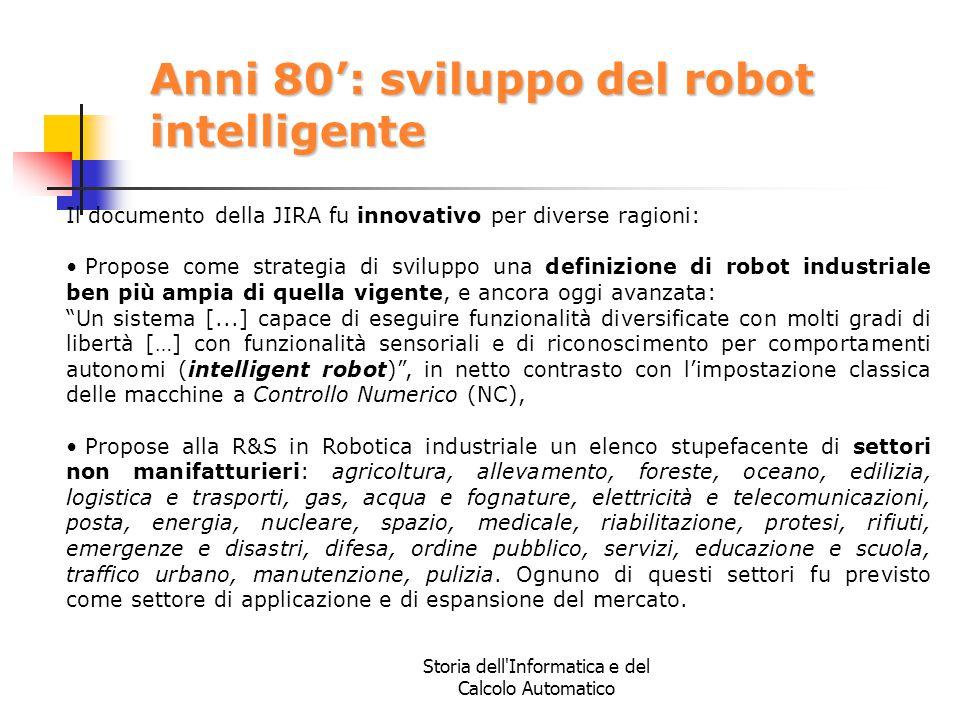 Anni 80': sviluppo del robot intelligente