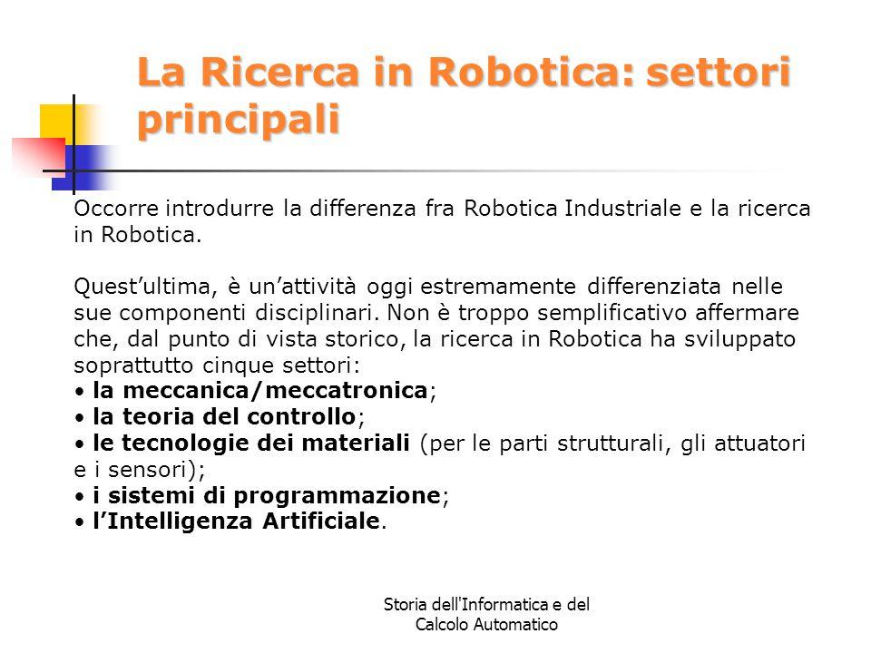 La Ricerca in Robotica: settori principali