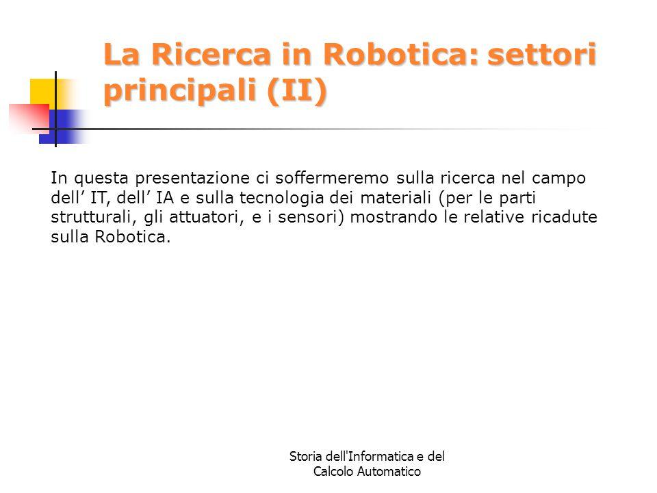 La Ricerca in Robotica: settori principali (II)