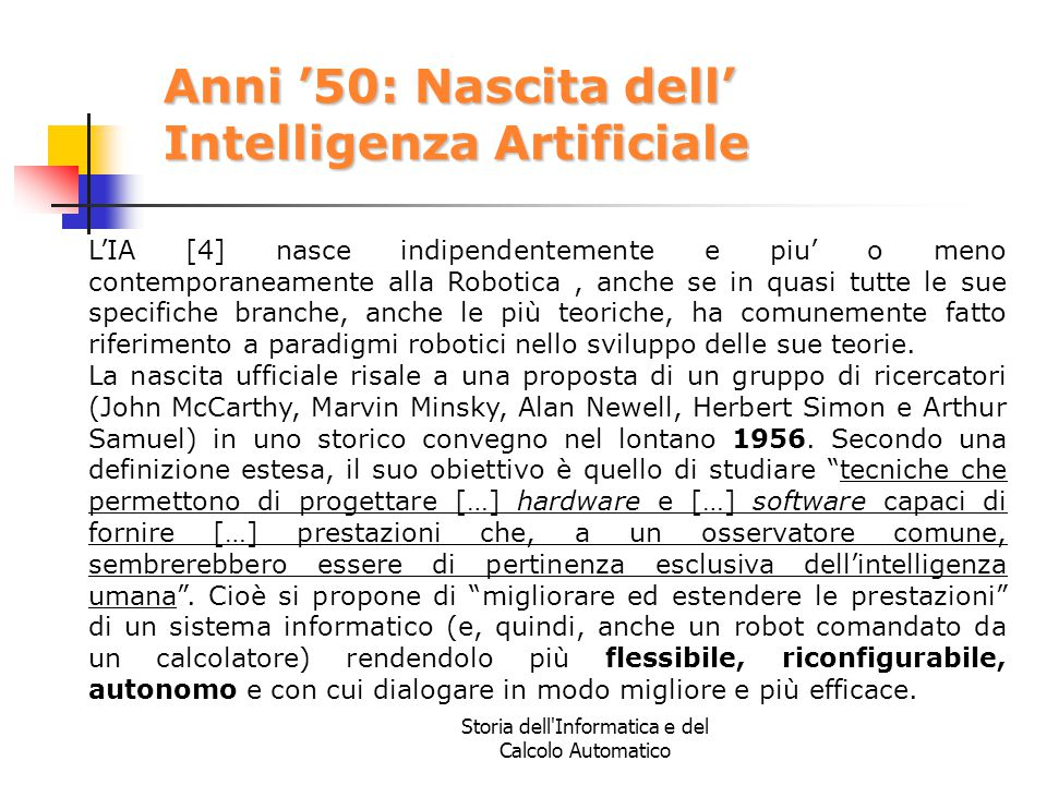 Anni '50: Nascita dell' Intelligenza Artificiale
