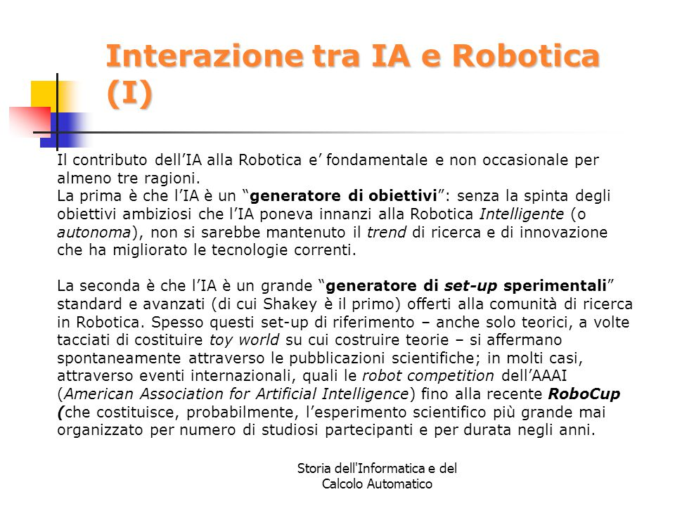 Interazione tra IA e Robotica (I)