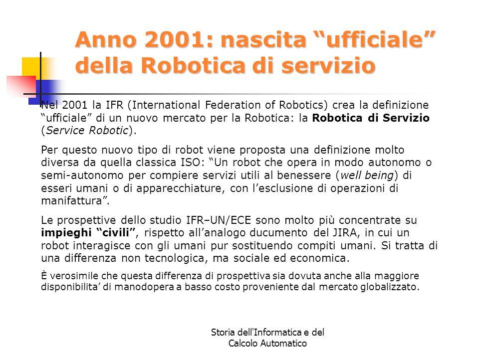 Anno 2001: nascita ufficiale della Robotica di servizio