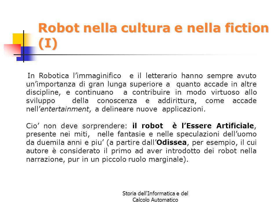 Robot nella cultura e nella fiction (I)