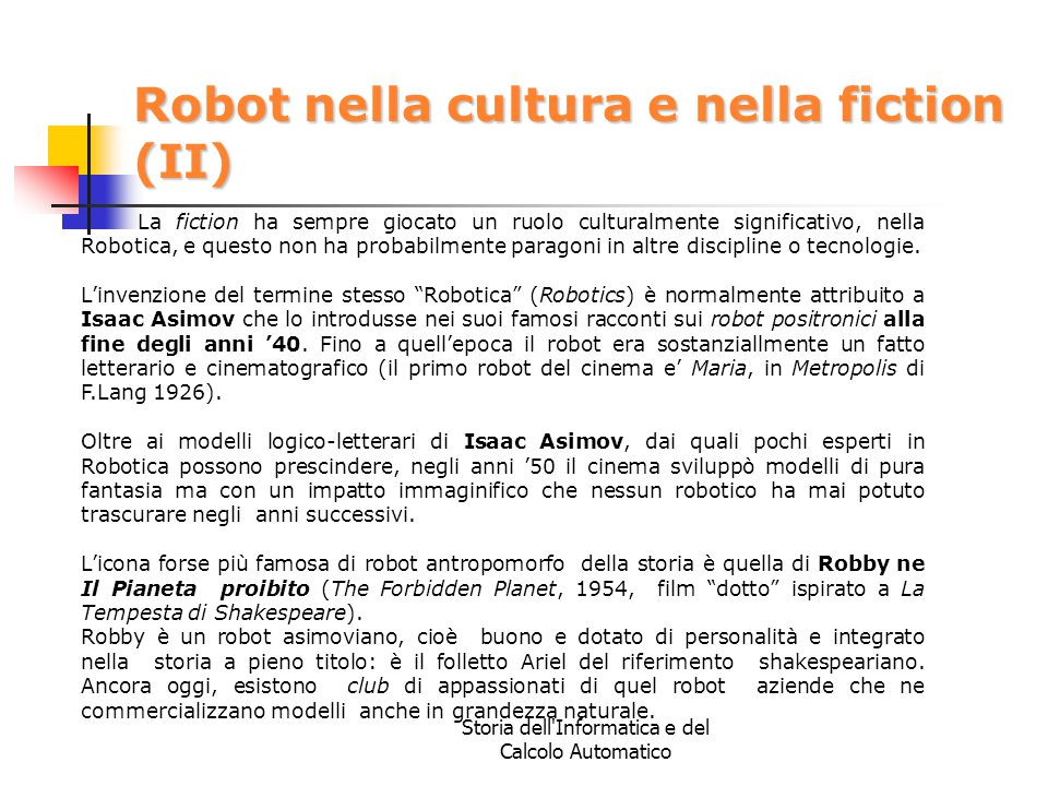 Robot nella cultura e nella fiction (II)