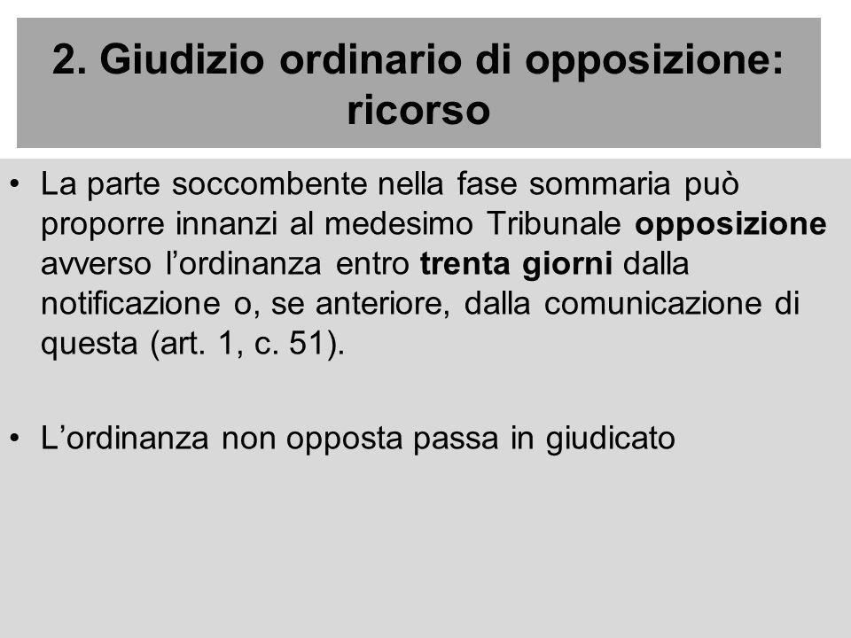 2. Giudizio ordinario di opposizione: ricorso