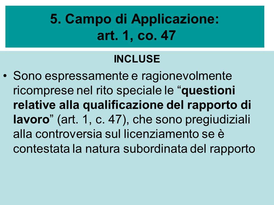 5. Campo di Applicazione: art. 1, co. 47