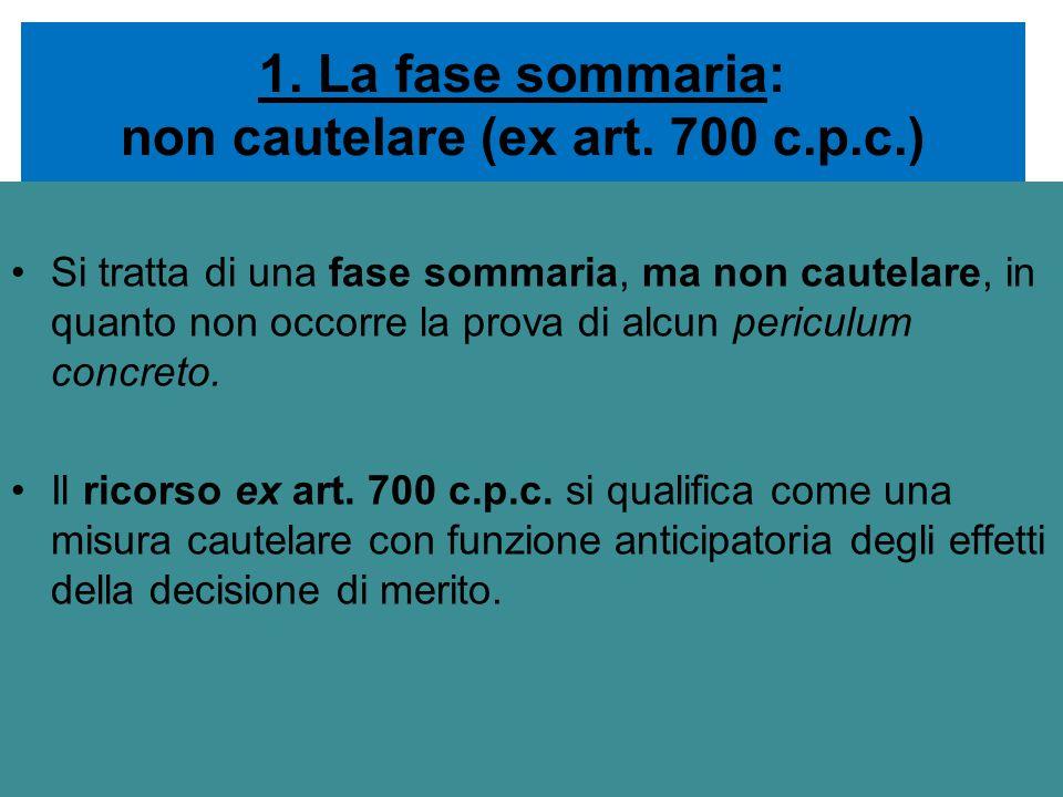 1. La fase sommaria: non cautelare (ex art. 700 c.p.c.)