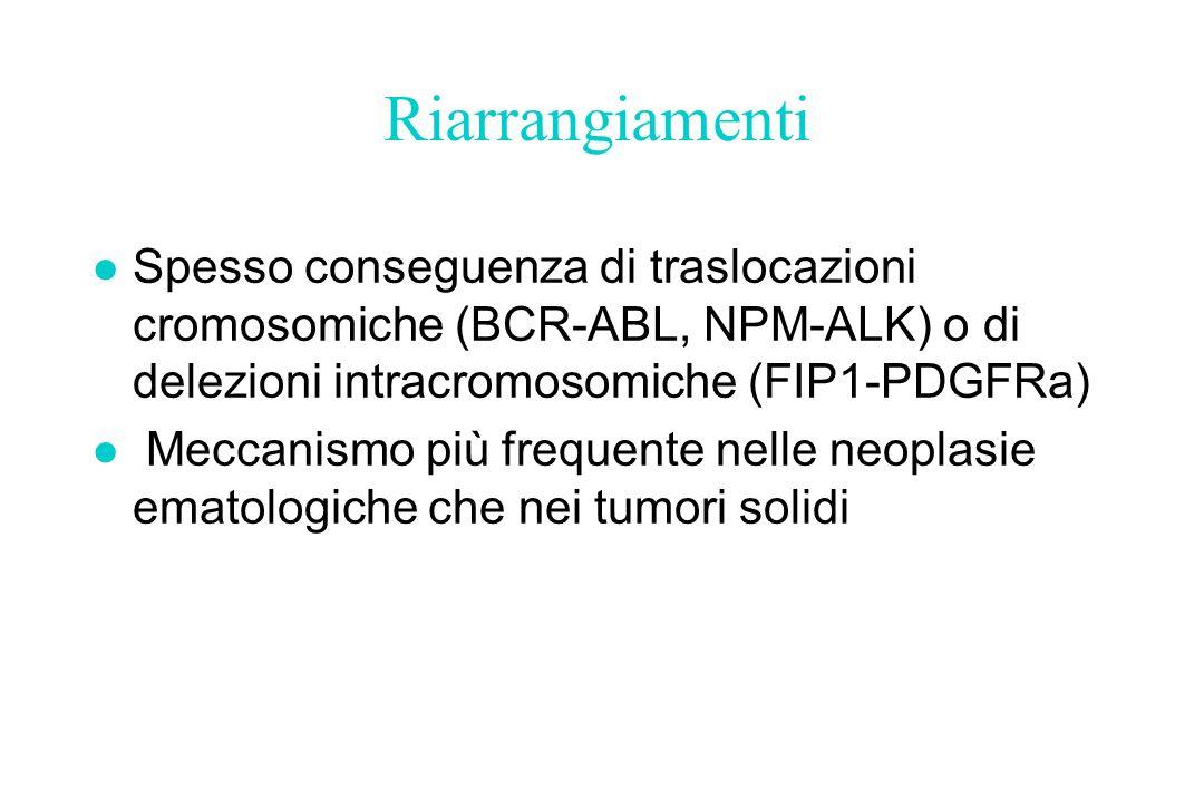 Riarrangiamenti Spesso conseguenza di traslocazioni cromosomiche (BCR-ABL, NPM-ALK) o di delezioni intracromosomiche (FIP1-PDGFRa)