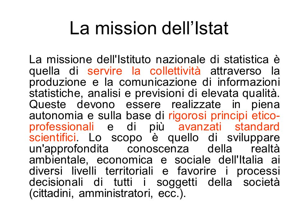 La mission dell'Istat