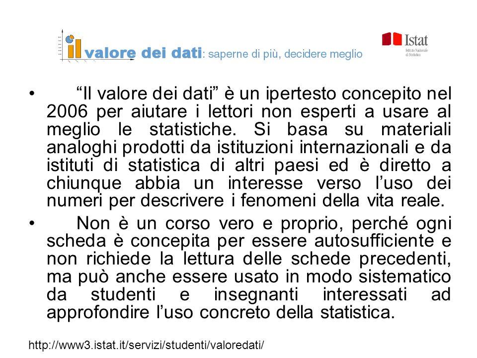 Il valore dei dati è un ipertesto concepito nel 2006 per aiutare i lettori non esperti a usare al meglio le statistiche. Si basa su materiali analoghi prodotti da istituzioni internazionali e da istituti di statistica di altri paesi ed è diretto a chiunque abbia un interesse verso l'uso dei numeri per descrivere i fenomeni della vita reale.