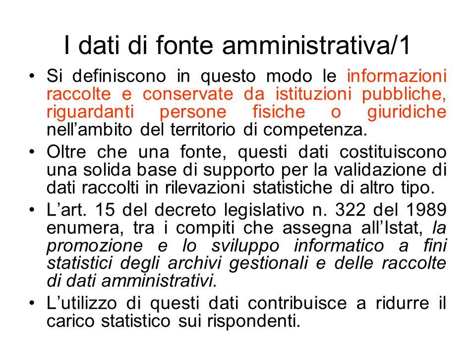 I dati di fonte amministrativa/1