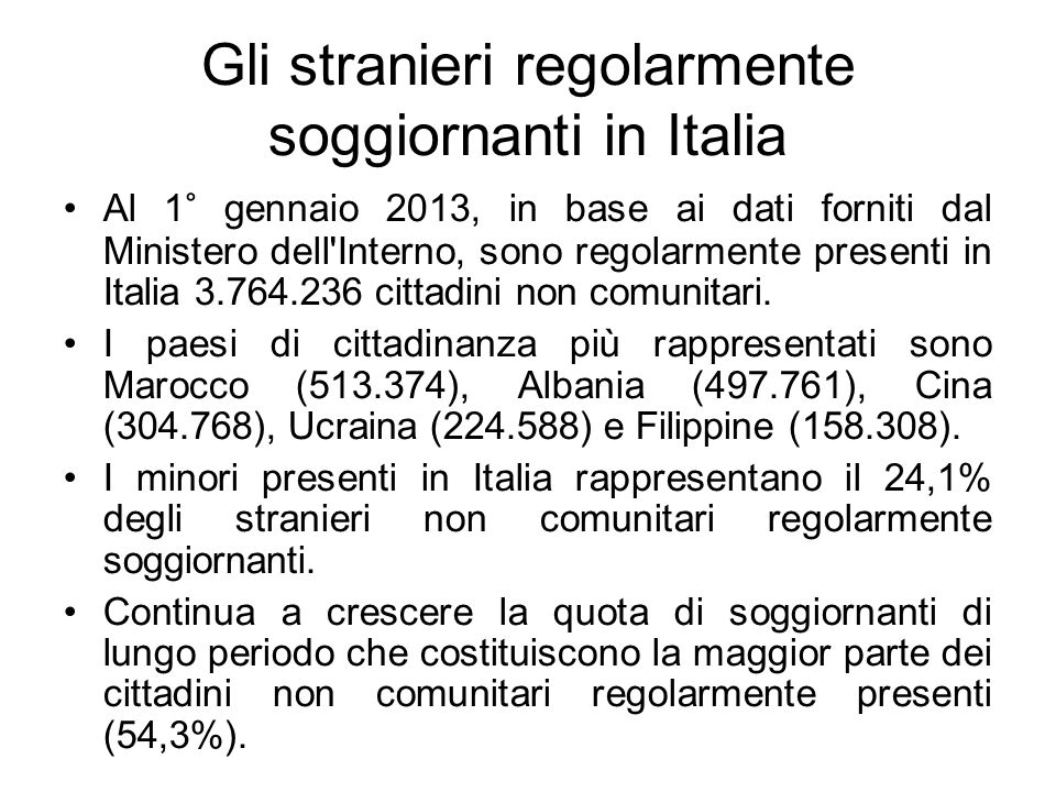 Gli stranieri regolarmente soggiornanti in Italia