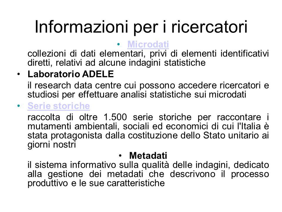 Informazioni per i ricercatori