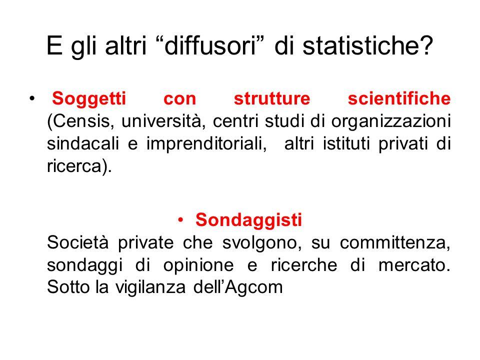 E gli altri diffusori di statistiche