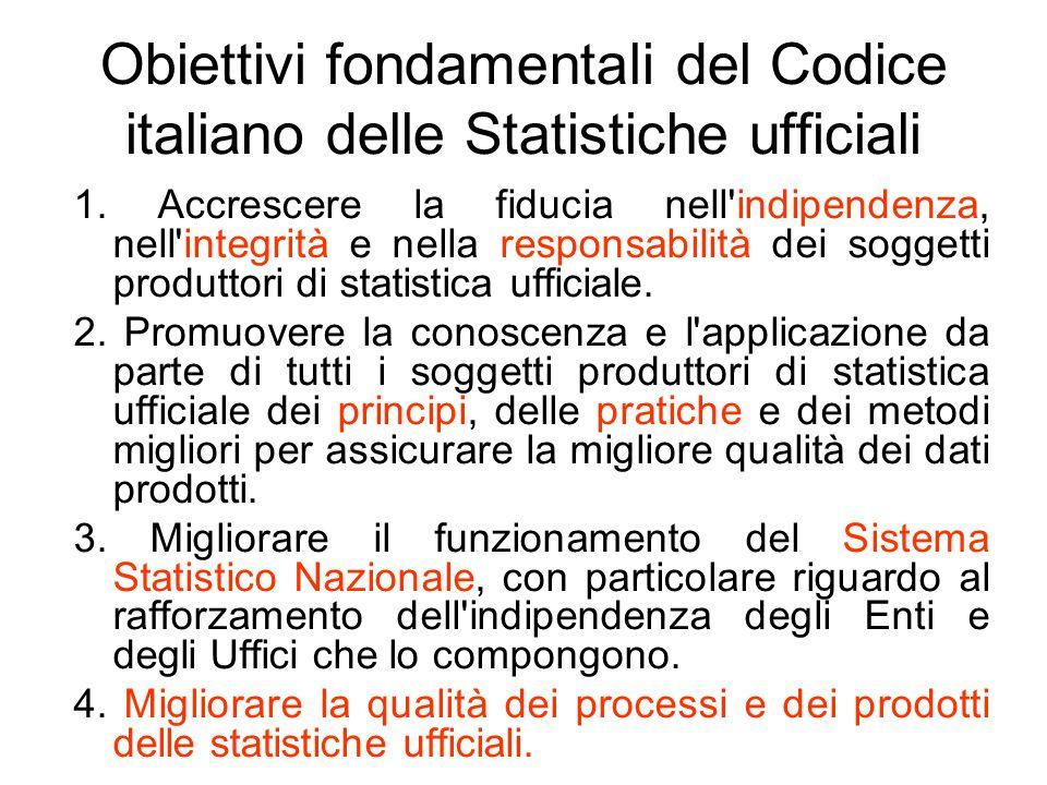 Obiettivi fondamentali del Codice italiano delle Statistiche ufficiali