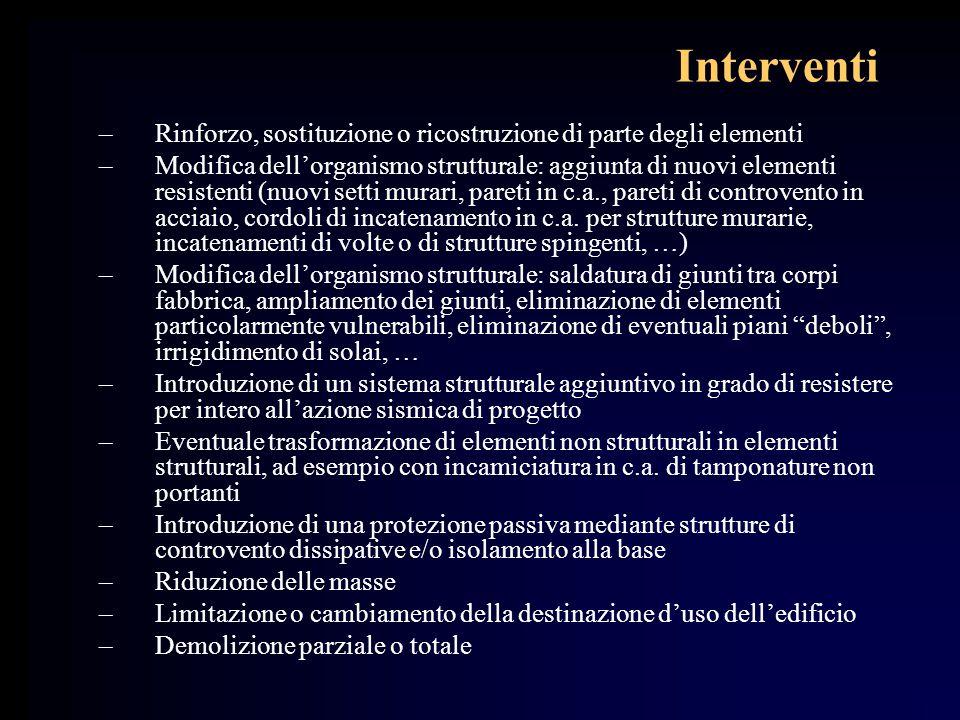 Interventi Rinforzo, sostituzione o ricostruzione di parte degli elementi.