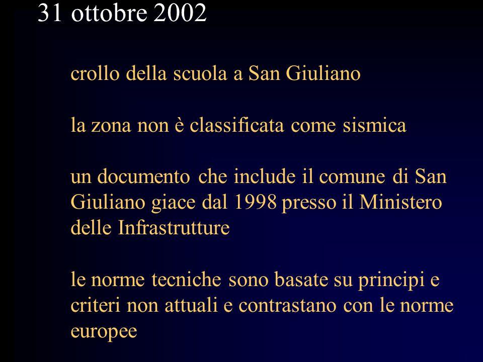 31 ottobre 2002 crollo della scuola a San Giuliano la zona non è classificata come sismica un documento che include il comune di San Giuliano giace dal 1998 presso il Ministero delle Infrastrutture le norme tecniche sono basate su principi e criteri non attuali e contrastano con le norme europee