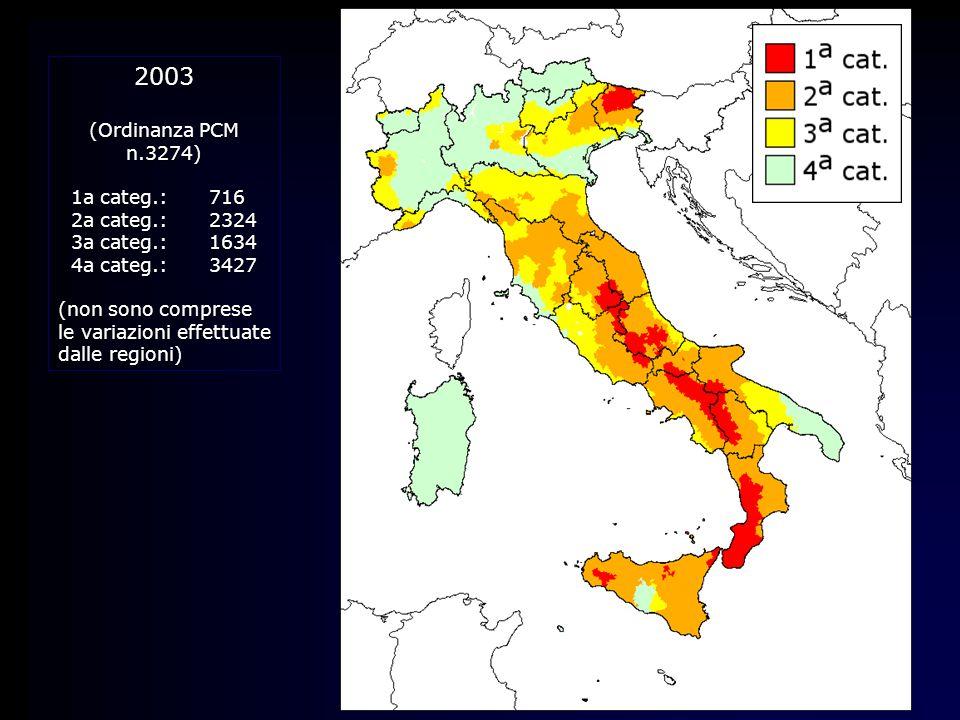 2003 (Ordinanza PCM n.3274) 1a categ.: 716 2a categ.: 2324