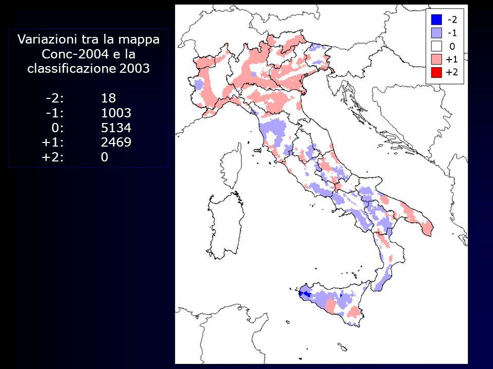 Variazioni tra la mappa Conc-2004 e la classificazione 2003