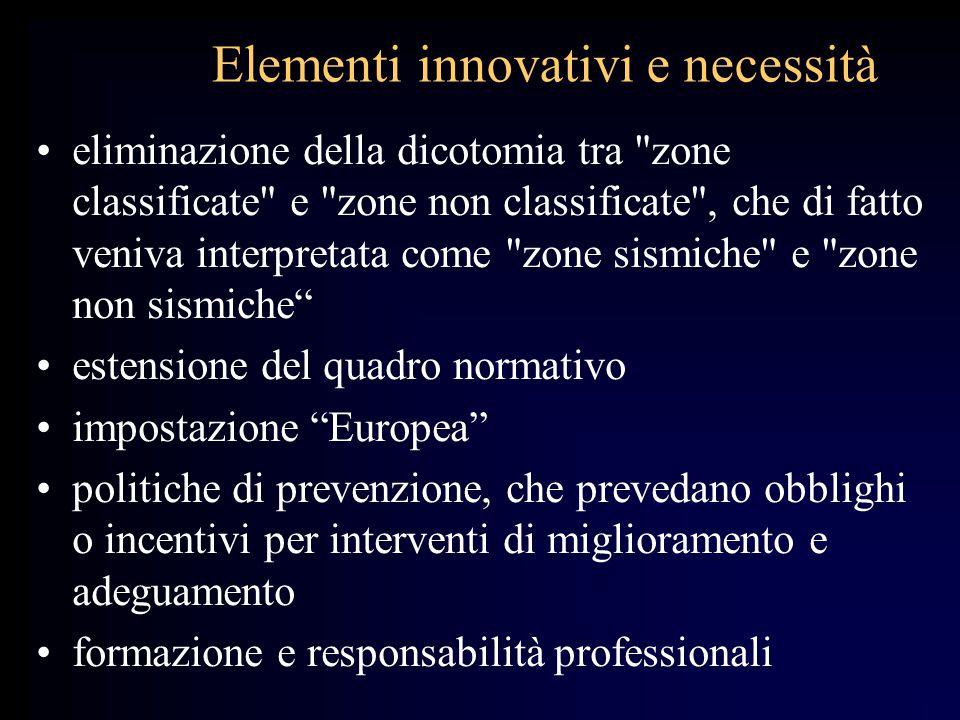 Elementi innovativi e necessità
