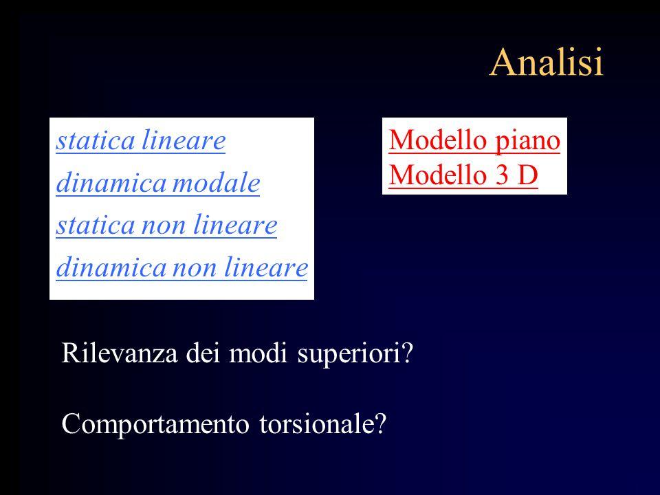 Analisi statica lineare dinamica modale statica non lineare