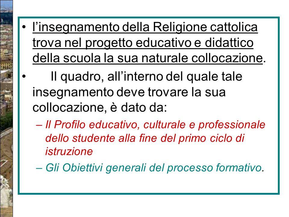 l'insegnamento della Religione cattolica trova nel progetto educativo e didattico della scuola la sua naturale collocazione.