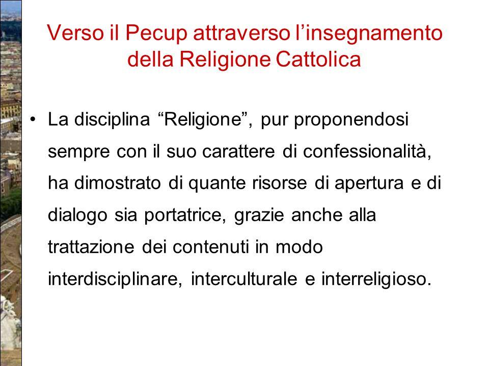 Verso il Pecup attraverso l'insegnamento della Religione Cattolica