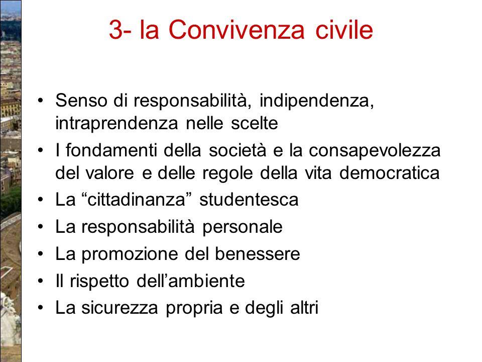 3- la Convivenza civile Senso di responsabilità, indipendenza, intraprendenza nelle scelte.
