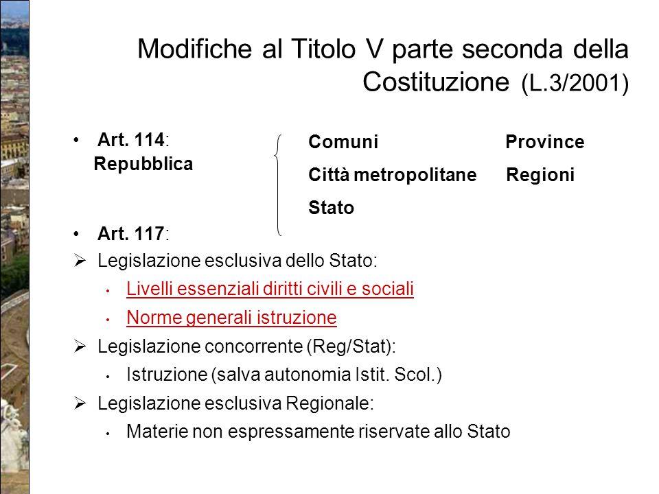 Modifiche al Titolo V parte seconda della Costituzione (L.3/2001)