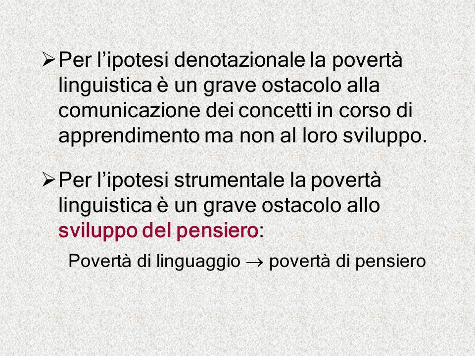 Per l'ipotesi denotazionale la povertà linguistica è un grave ostacolo alla comunicazione dei concetti in corso di apprendimento ma non al loro sviluppo.