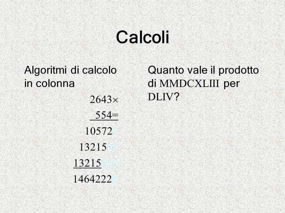 Calcoli Algoritmi di calcolo in colonna 2643 554= 10572# 13215##