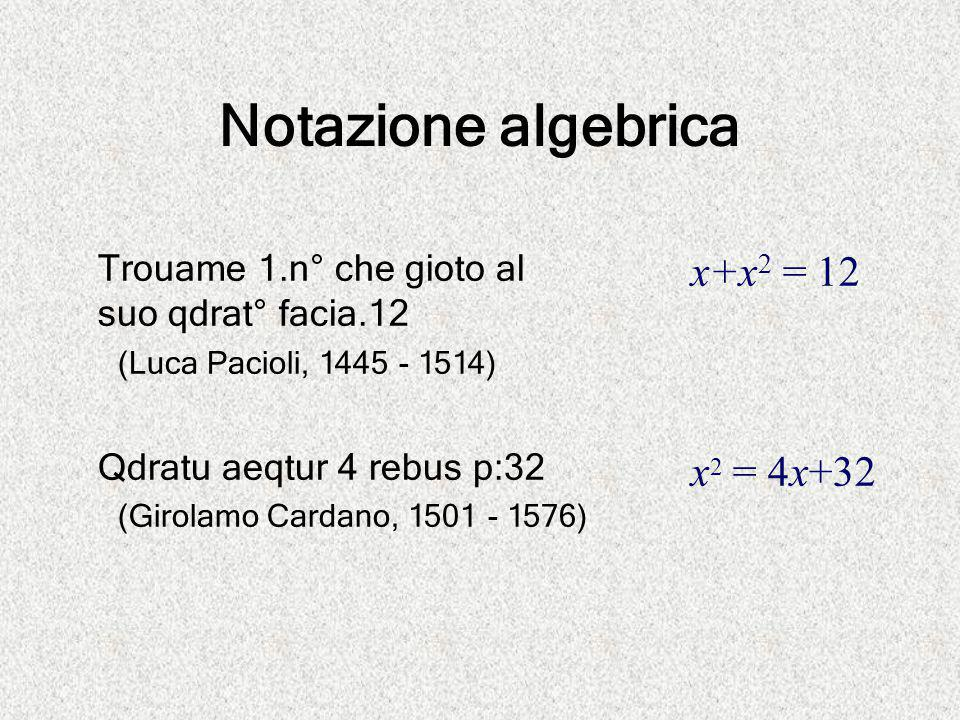 Notazione algebrica x+x2 = 12 x2 = 4x+32
