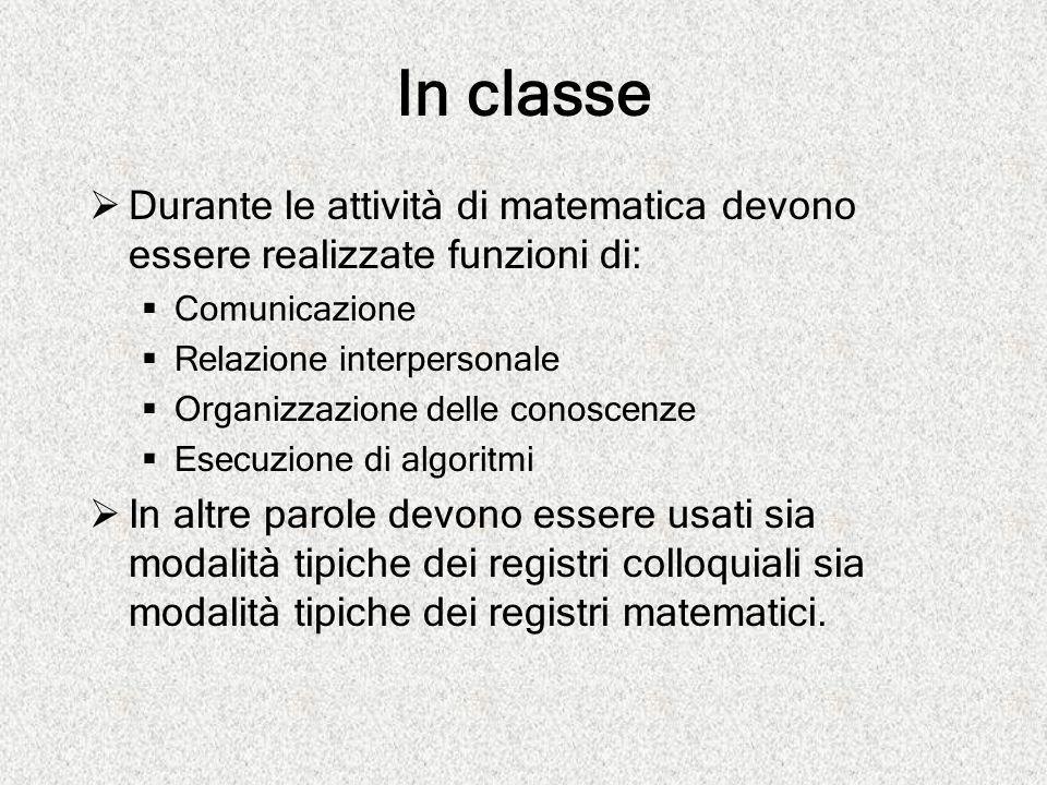In classe Durante le attività di matematica devono essere realizzate funzioni di: Comunicazione. Relazione interpersonale.