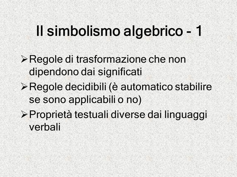Il simbolismo algebrico - 1