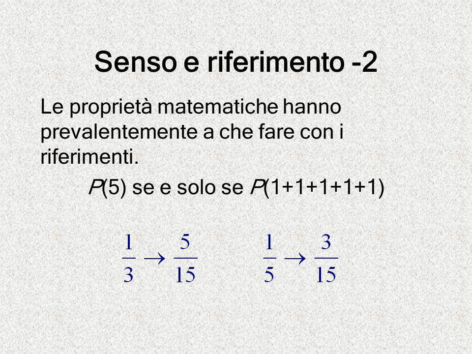 Senso e riferimento -2 Le proprietà matematiche hanno prevalentemente a che fare con i riferimenti.