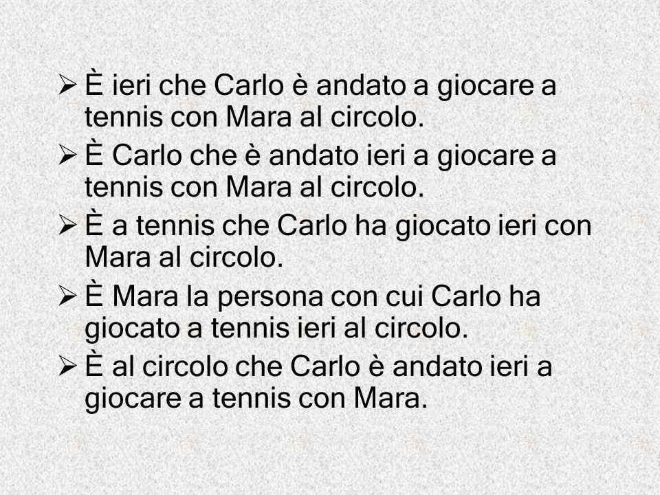 È ieri che Carlo è andato a giocare a tennis con Mara al circolo.