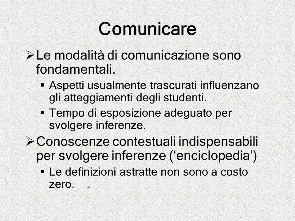 Comunicare Le modalità di comunicazione sono fondamentali.