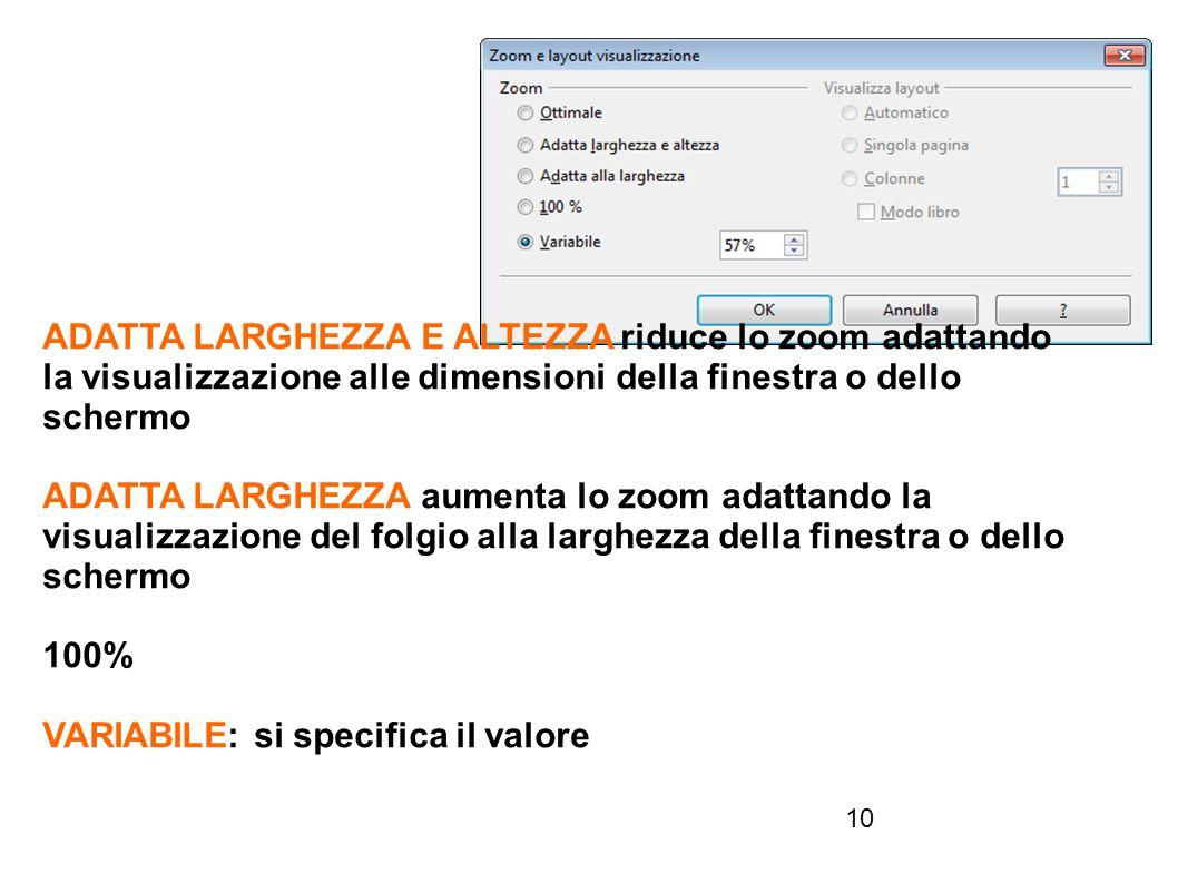 ADATTA LARGHEZZA E ALTEZZA riduce lo zoom adattando la visualizzazione alle dimensioni della finestra o dello schermo