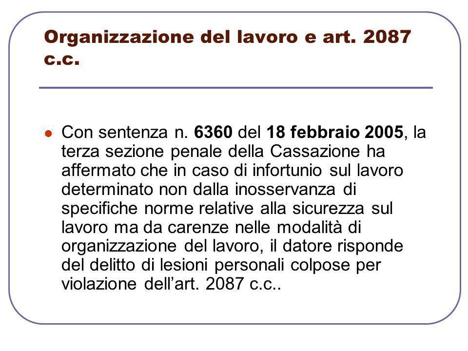 Organizzazione del lavoro e art. 2087 c.c.