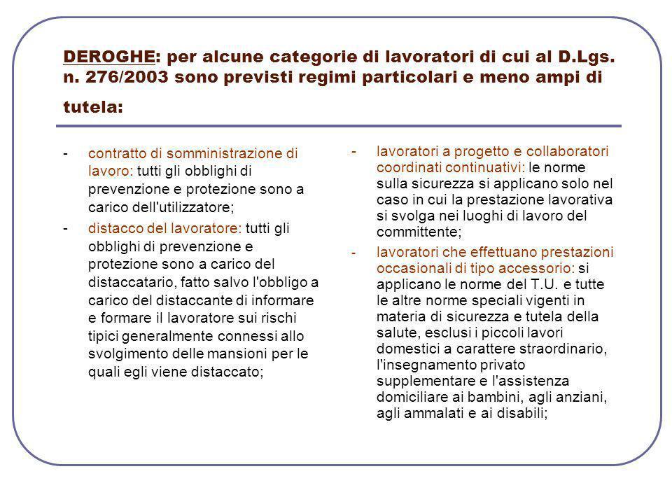 DEROGHE: per alcune categorie di lavoratori di cui al D. Lgs. n