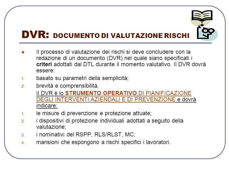 DVR: DOCUMENTO DI VALUTAZIONE RISCHI