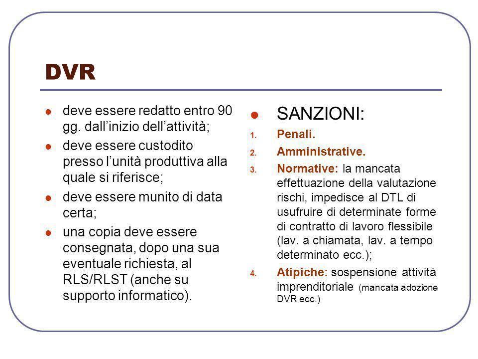 DVR deve essere redatto entro 90 gg. dall'inizio dell'attività; deve essere custodito presso l'unità produttiva alla quale si riferisce;