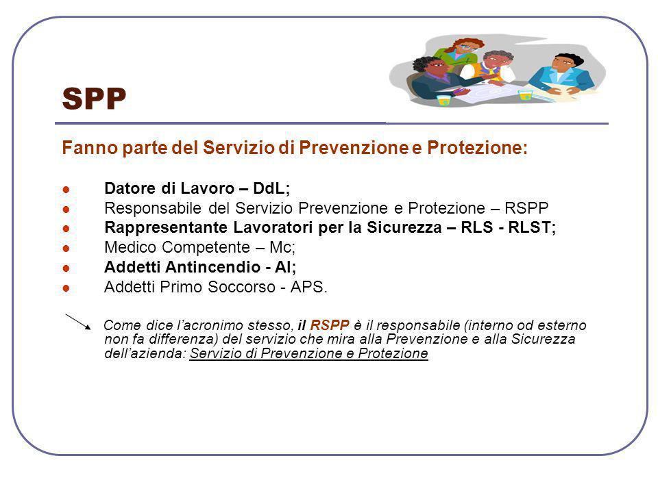 SPP Fanno parte del Servizio di Prevenzione e Protezione: