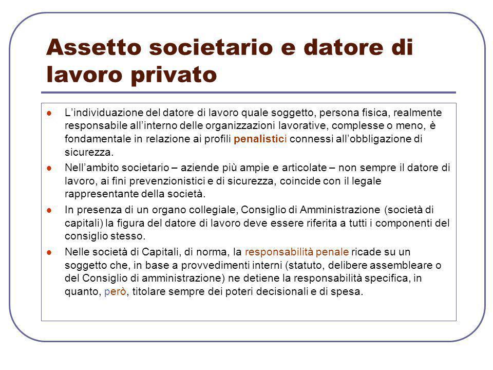 Assetto societario e datore di lavoro privato